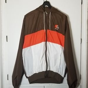 🔥Vintage Cleveland Browns Hooded Windbreaker